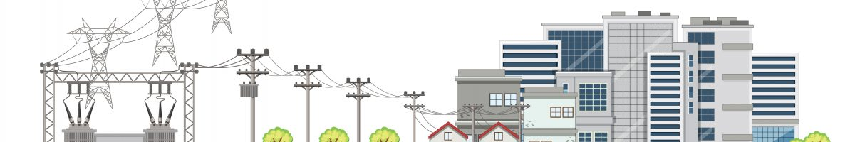 Electricity poles and buildings in city illustration